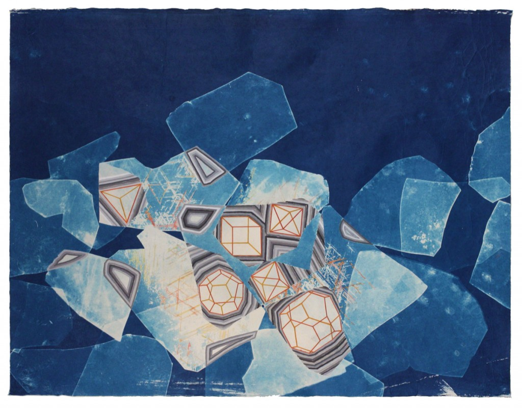 """""""Becoming,"""" cyanotype, gouache, colored pencil,   2014"""