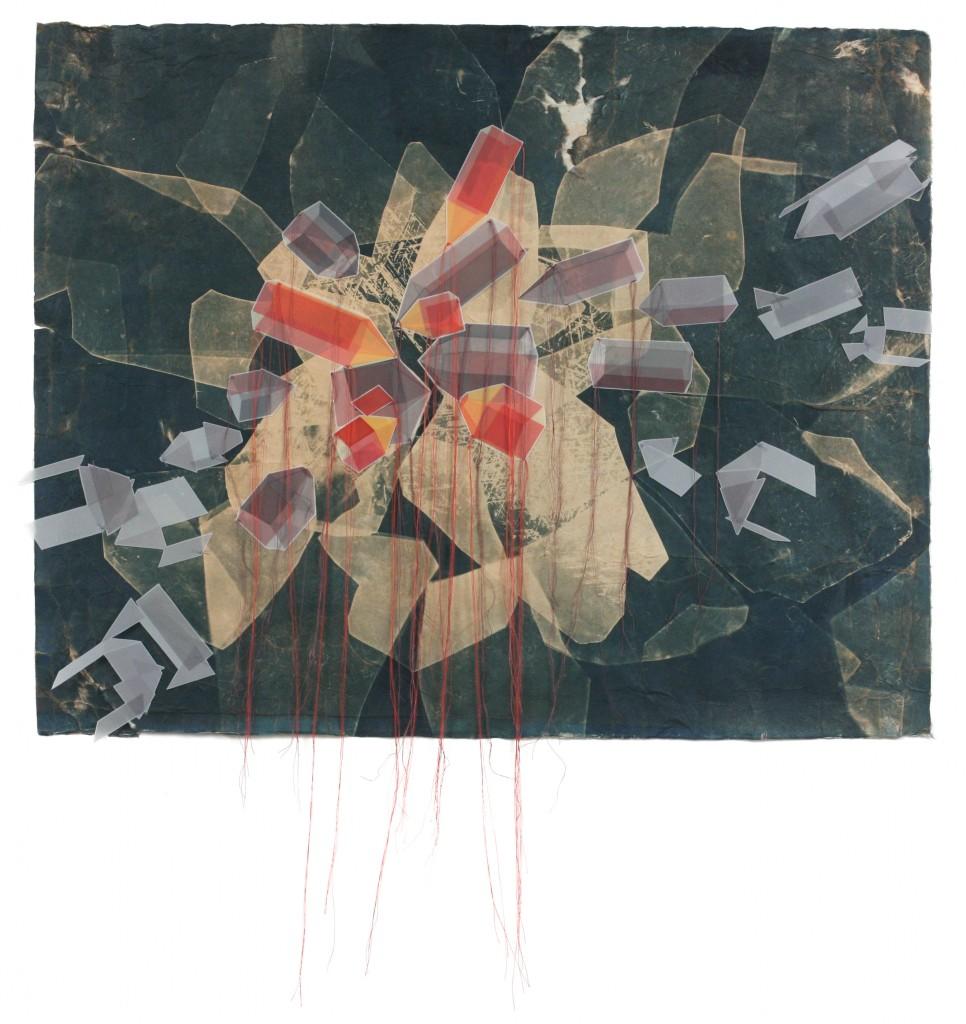 """Assemble,"" cyanotype, screenprint, sewing, collage, 2013"