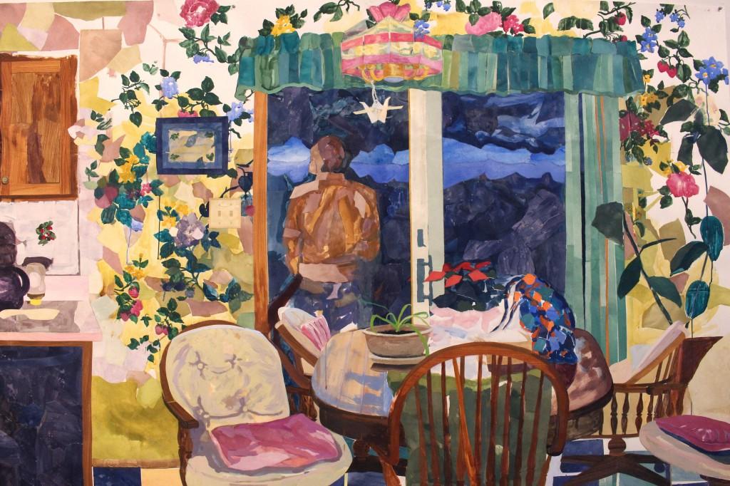 "Kira Buckel, ""Infinite Kitchen"" (detail), acrylic, gouache, painted collaged paper, PVA glue, tape on paper, 22' x 7', 2016."