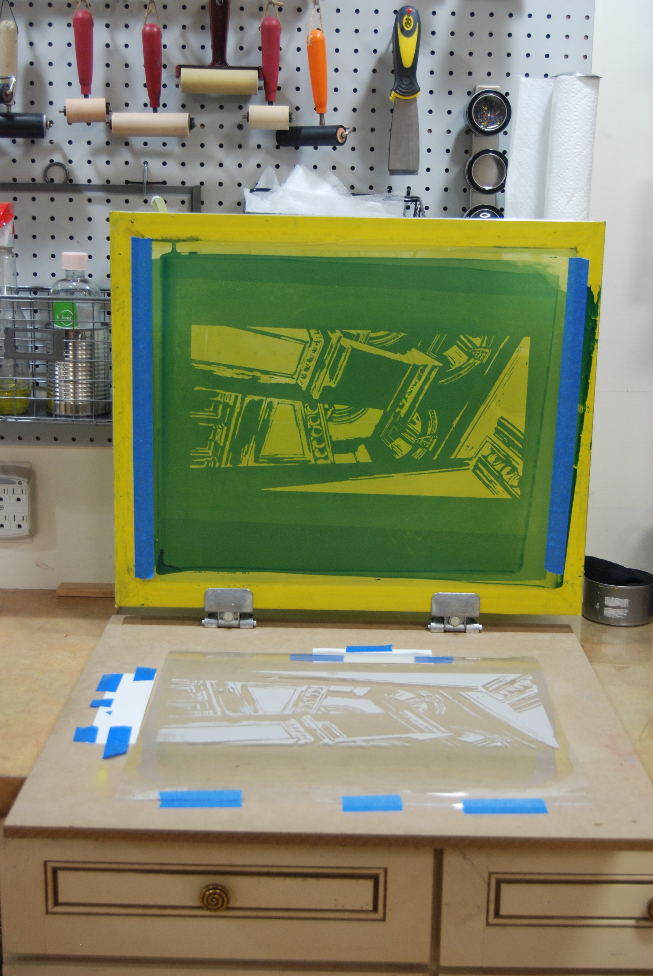 Silkscreen with image transferred to emulsion.  This is now ready to print.