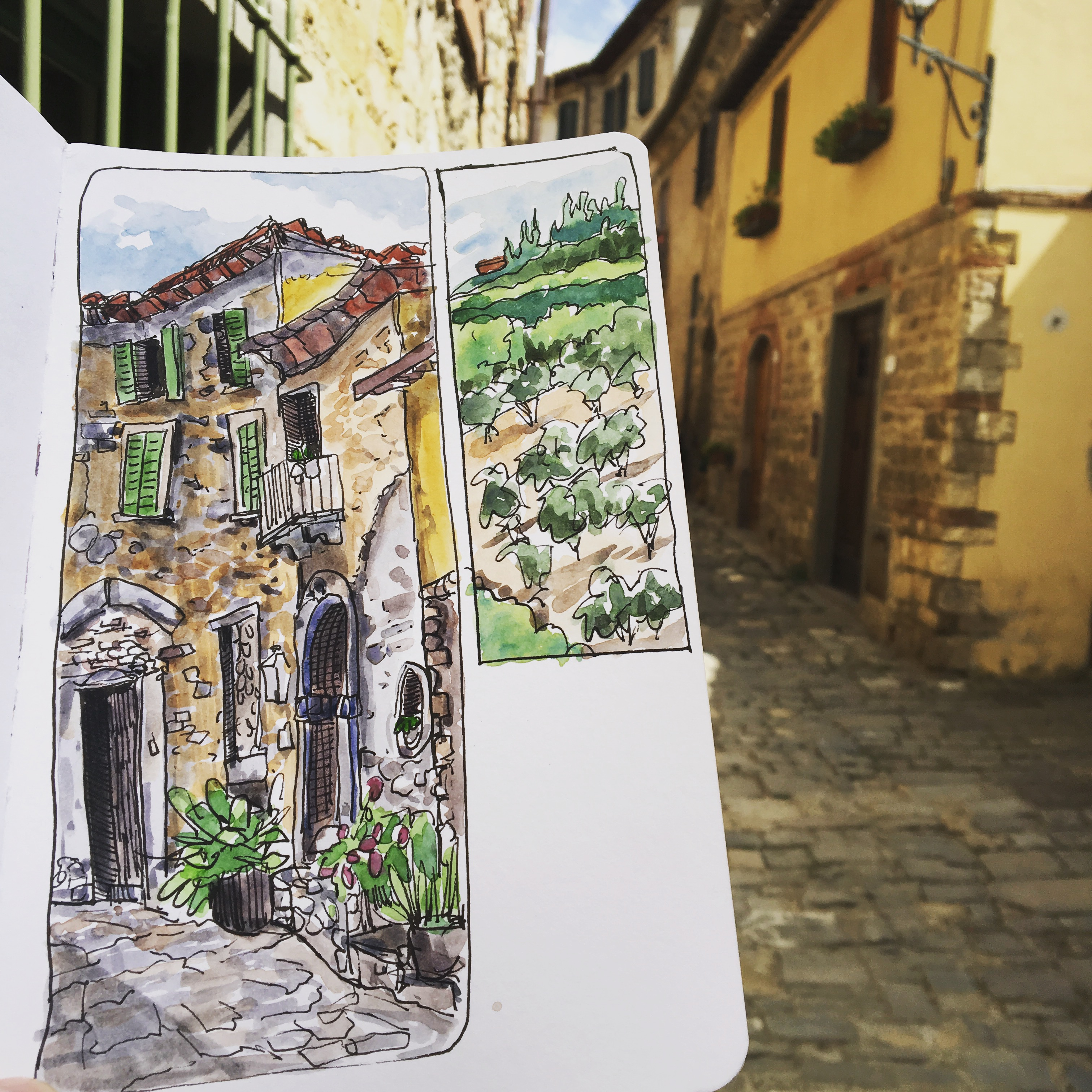 A sketch on the streets of Montefioralle, Italy