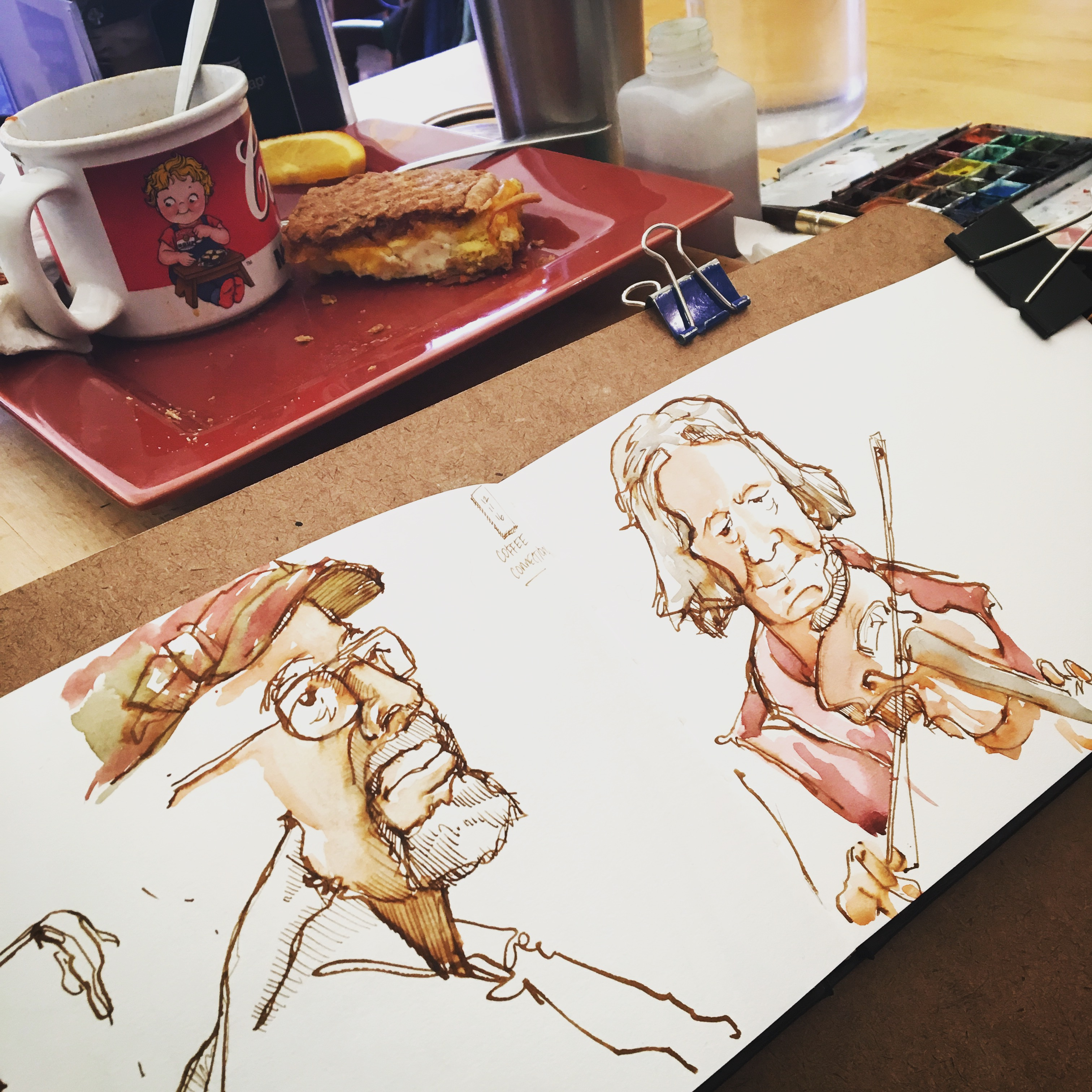 Sketching at the Cajun Jam at Coffee Connections