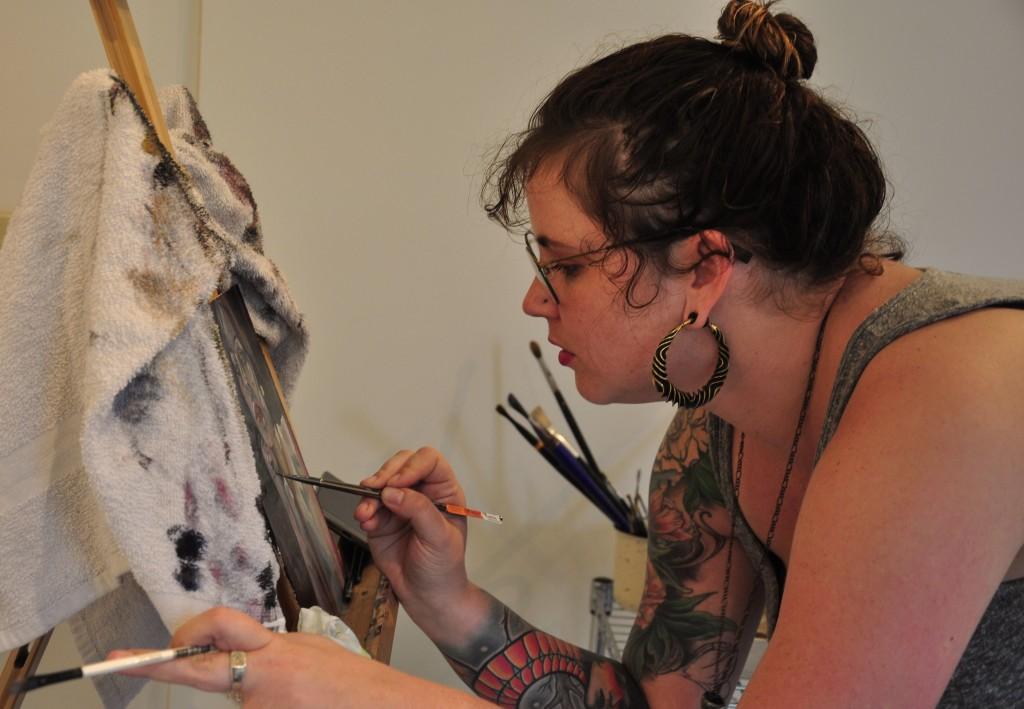 Hunter Zelner in her studio at Main Street Arts