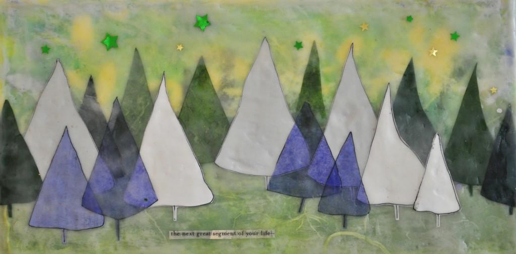 Encaustic Landscape with Trees