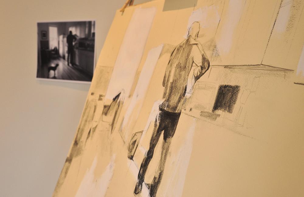 Drawing in progress in the studio at Main Street Arts
