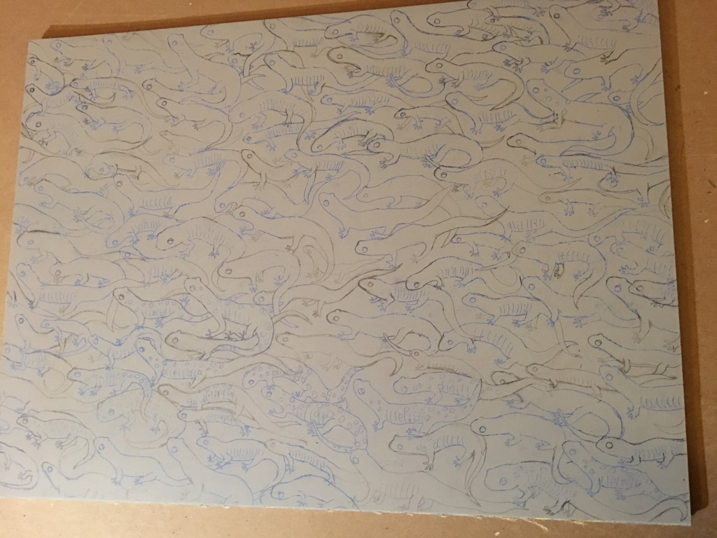 I often draw directly onto the linoleum plate.