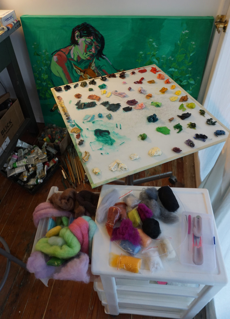 My palettes: in paint and in felt.  (Photo credit: David McKinley)