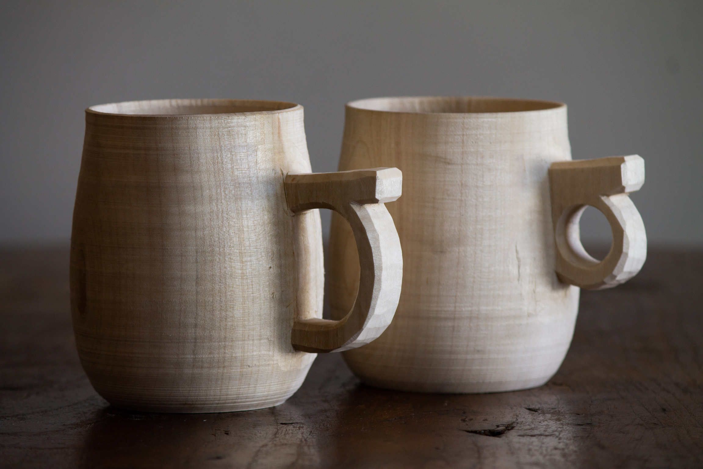 Wooden coffee mugs turned from one piece of wood.