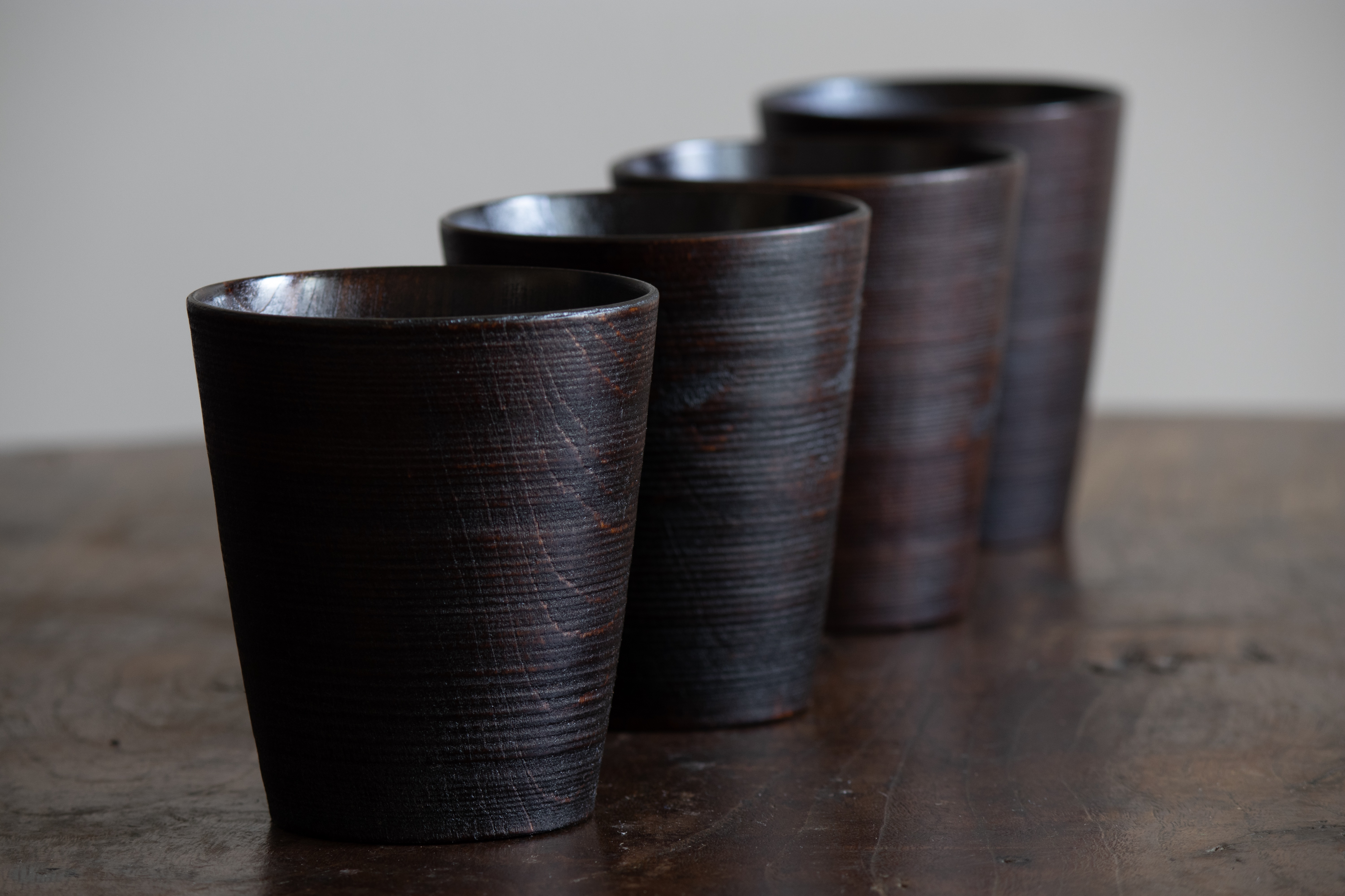 Wooden cups with urushi lacquer finish. Woodspirithandcraft.com