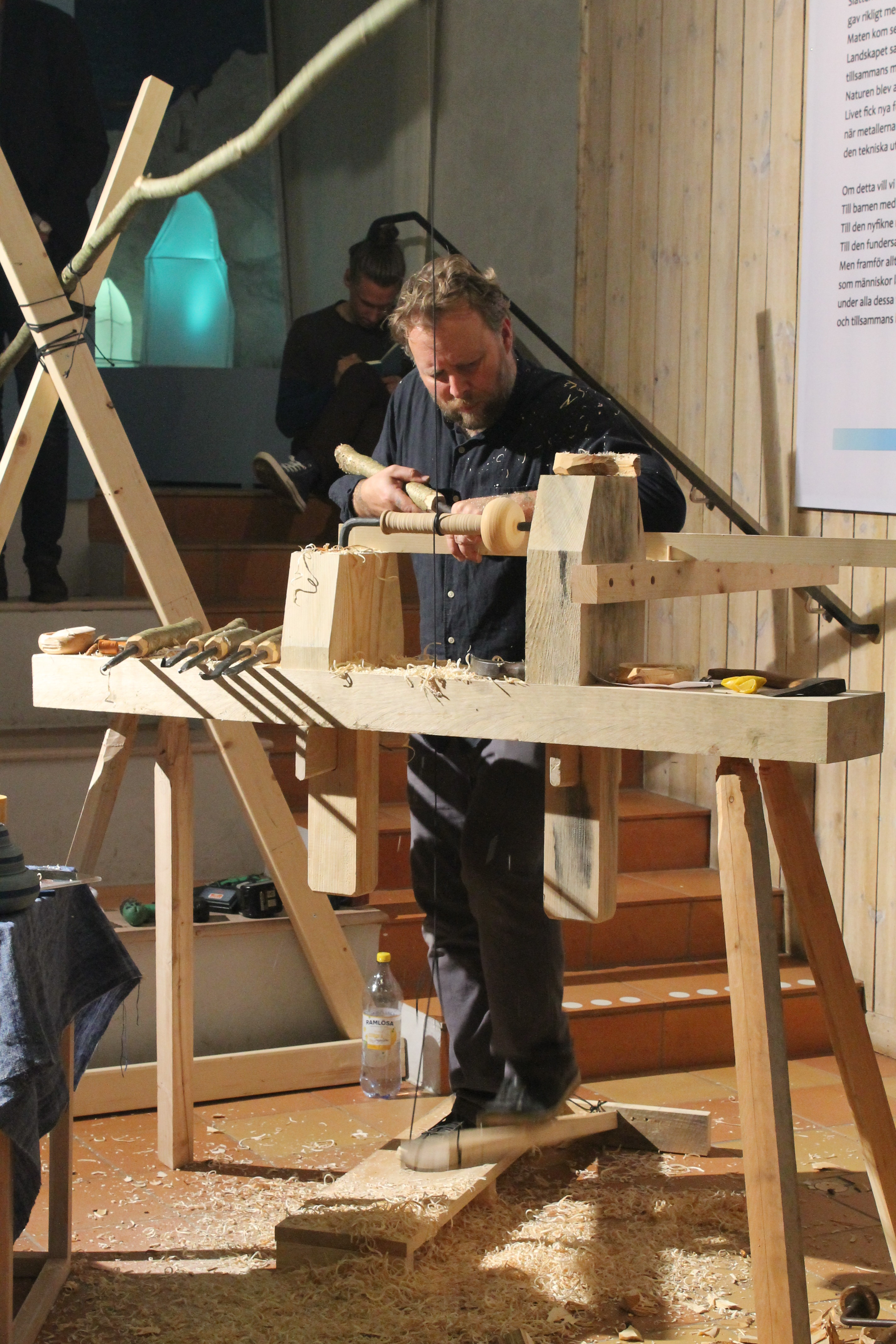 Giving a pole lathe turning demonstration in Borås, Sweden a region famous for 400 years of wood turning.