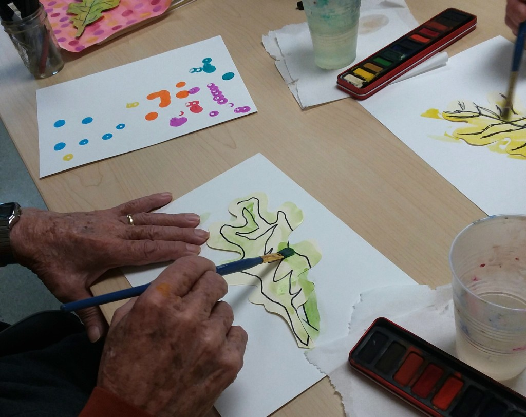 Mixed media leaf composition project at the Canandaigua VA
