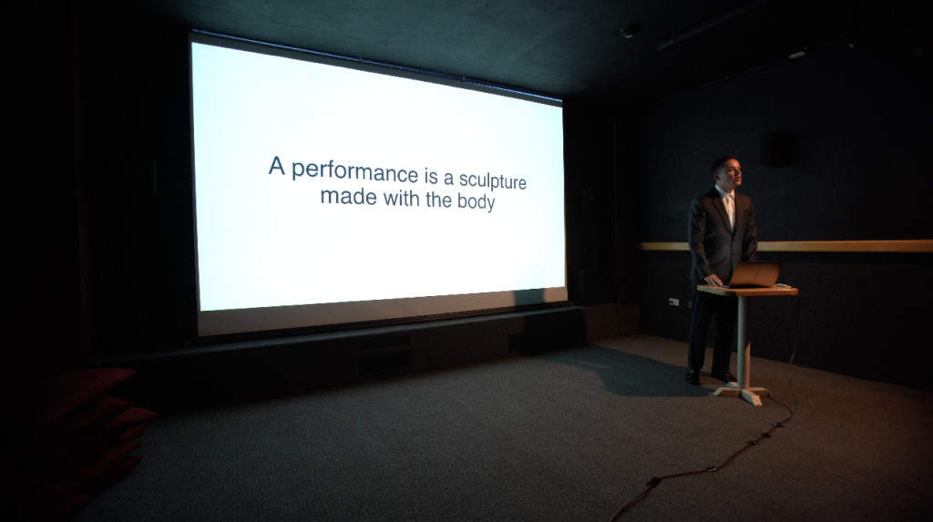 """""""A performance is a sculpture made with the body"""" situates performance within the history of the gradually broadening medium of sculpture over the course of the late 20th century."""