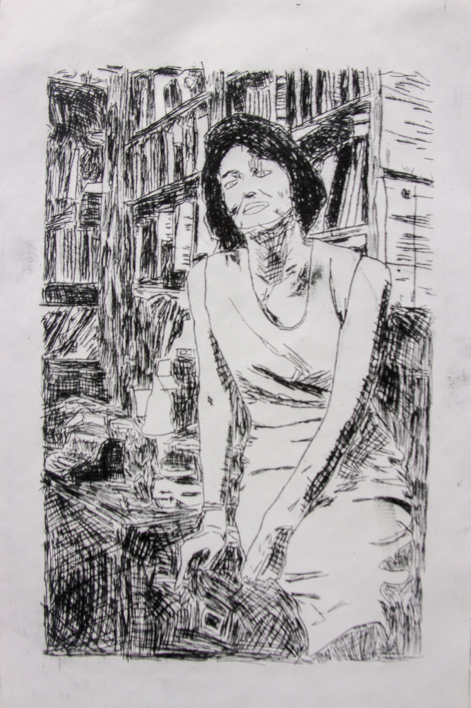 """""""Sometimes I too want to die"""" is an intaglio print of confessional poet Anne Sexton, who succumbed to her long battle with depression in 1974."""