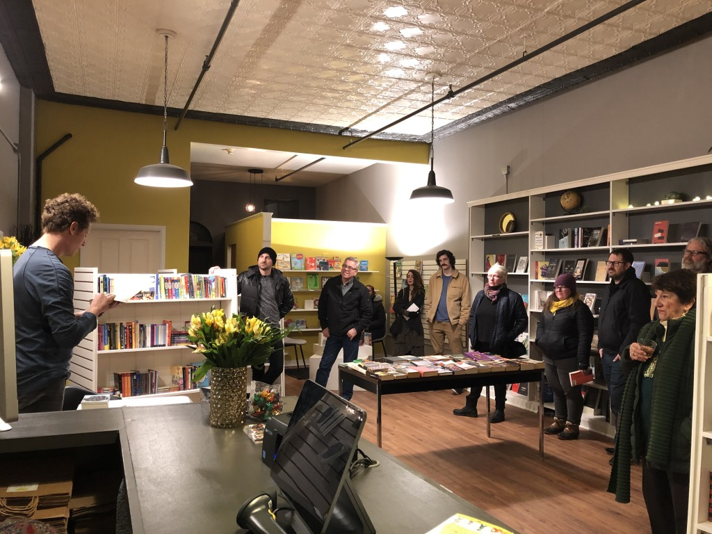 Rochester-based author, Brian Wood reading from his new book, Joytime Killbox at the Sulfur Books grand opening event