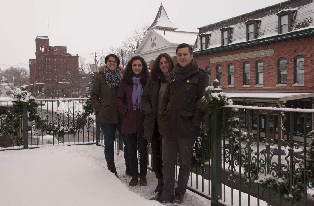 The Main Street Arts crew: (left to right) Sarah Butler, assistant director; Maria Galens, gallery assistant; Rachel Crawford, literary arts coordinator; and Bradley Butler, executive director and curator.