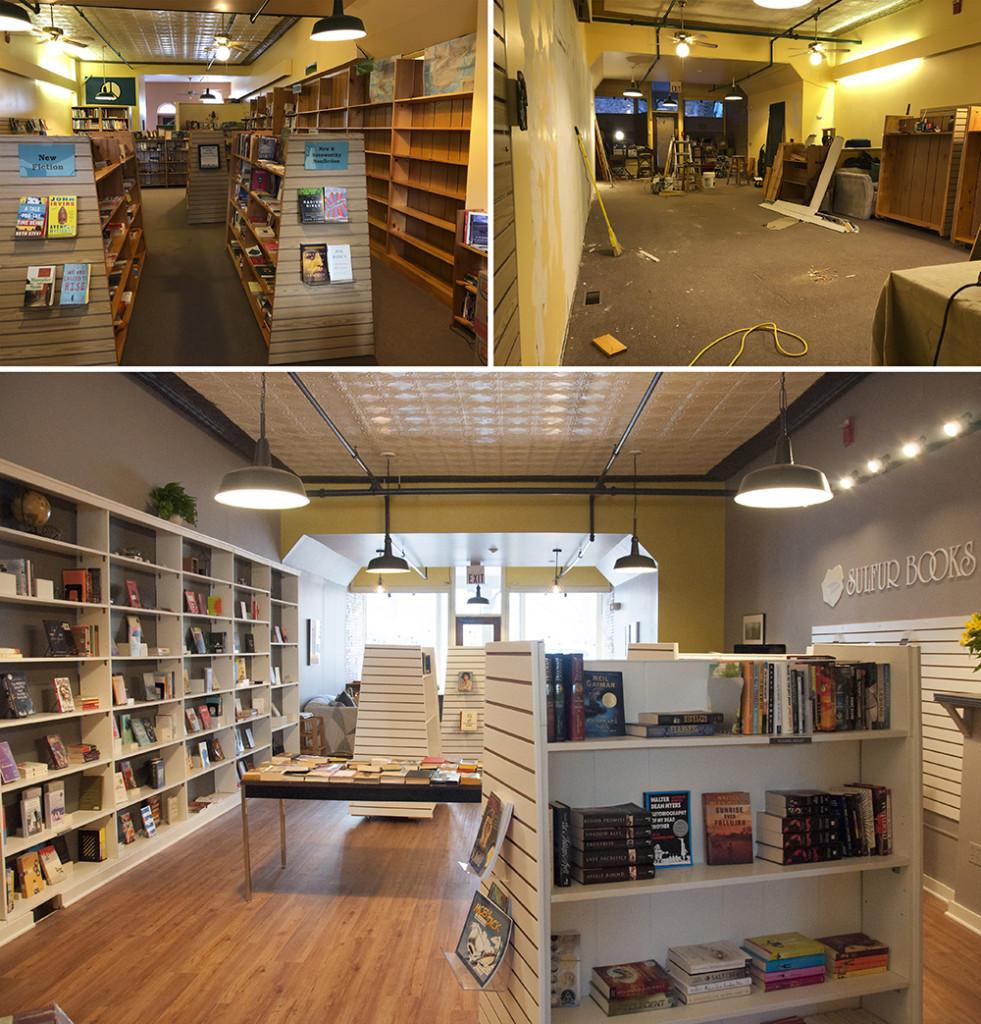 Top left: Explore! The Bookstore prior to renovation; Top right: The bookstore during renovation; Bottom: Sulfur Books