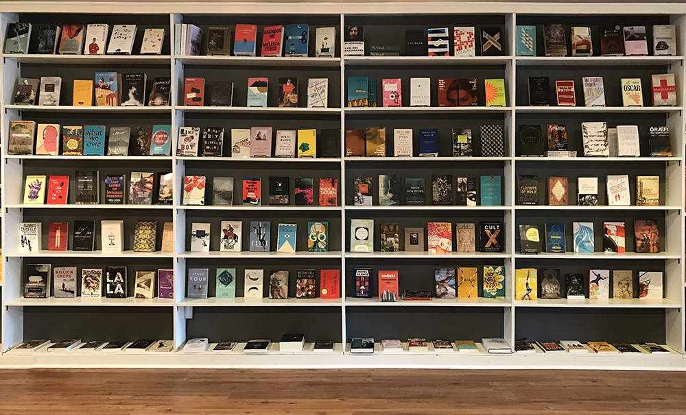 The wall of Literature in Translation at Sulfur Books