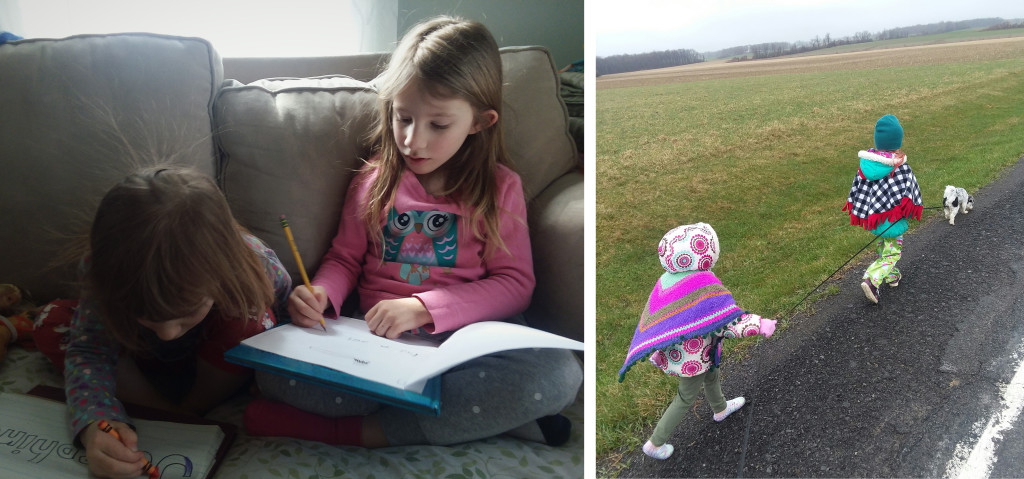"Left, Jo and Penny doing school work. Right, I call this my ""3 ring circus"", going for a walk."