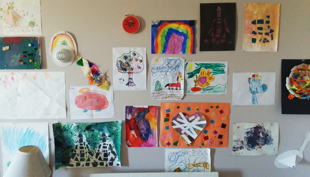 """The """"Art Wall"""" - a display of artwork made by my children"""