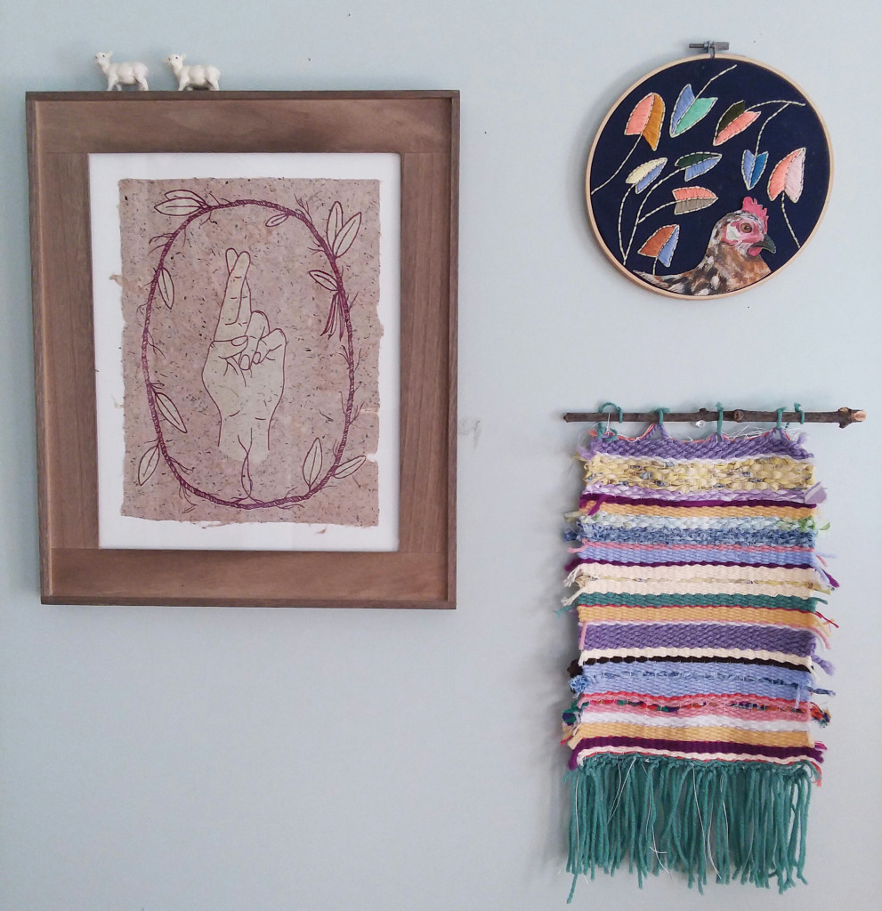 """Emma Percy's """"Ties that Bind"""" with my own embroidery and weaving"""