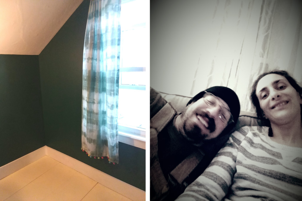 Left, My bedroom, newly painted with hand dyed curtains. Right, My husband, Ben, and I.