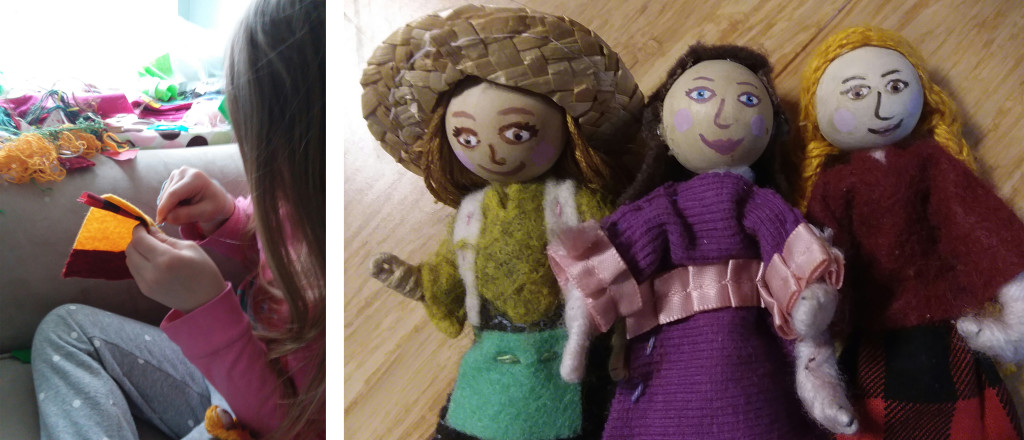 "Left, my daughter Penny sewing a blanket for her dolls. Right, a few of the ""Wee Felt Folk"" I've made."