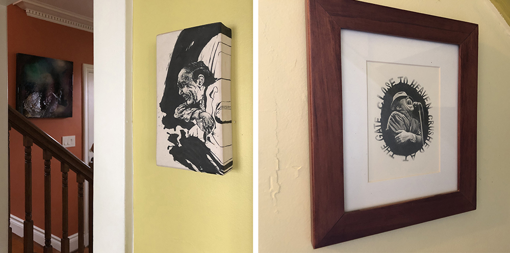(Left) in the stairwell on the orange wall an astral painting by Rochester artist, Amy Vena who I met in grad school and a ceramic piece by former Flower City Arts Center artist in residence, Andrew Cho who I met when I worked there in 2011.
