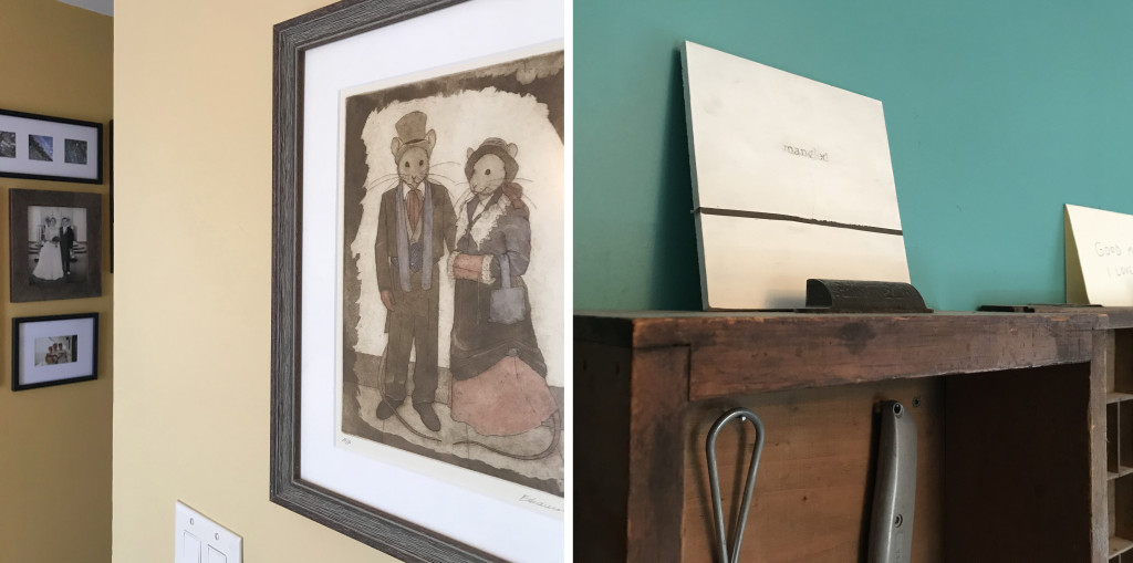 """Left, a print by Syracuse artist Elizabeth Andrews acquired at the Memorial Art Gallery's Clothesline Festival in 2009. This piece sits at the top of our stairs and always makes me smile because on the wall just behind it (shown far left) is our wedding photo in which we are standing in the exact same pose. Right, a 6x6 from the first year of RoCo's 6x6 exhibition in 2008 done by Cory Card, who sadly passed away earlier this year. This piece sits on a shelf in my studio. It says """"mangled"""" and was the first piece I was drawn to at that exhibition due to its bold simplicity."""