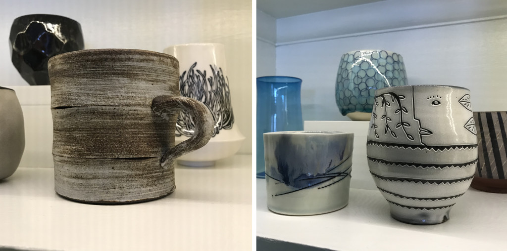"""A few of my favorites from our cup collection. Left, center, a mug by Sam Chung purchased during the 2019 Flower City Pottery invitational. Just behind it to left, you can see a collaborative cup by August 2018 MSA residents Maliya Travers-Crumb (ceramic artist) and Jill Grimes (painter). To the left of the mug, a cup by John and Kathy Brien from the MSA gallery shop. In the image on the right, my all time favorite cup in the collection, by Matt Metz can be seen in the front on the right. This piece was purchased during the 2017 Flower City Pottery Invitational. The blue tall cup on the left is by Nicolas Kekic. The short tumbler in the front and the tea bowl in the back were both purchased from two different """"The Cup, The Mug"""" exhibitions at Main Street Arts."""