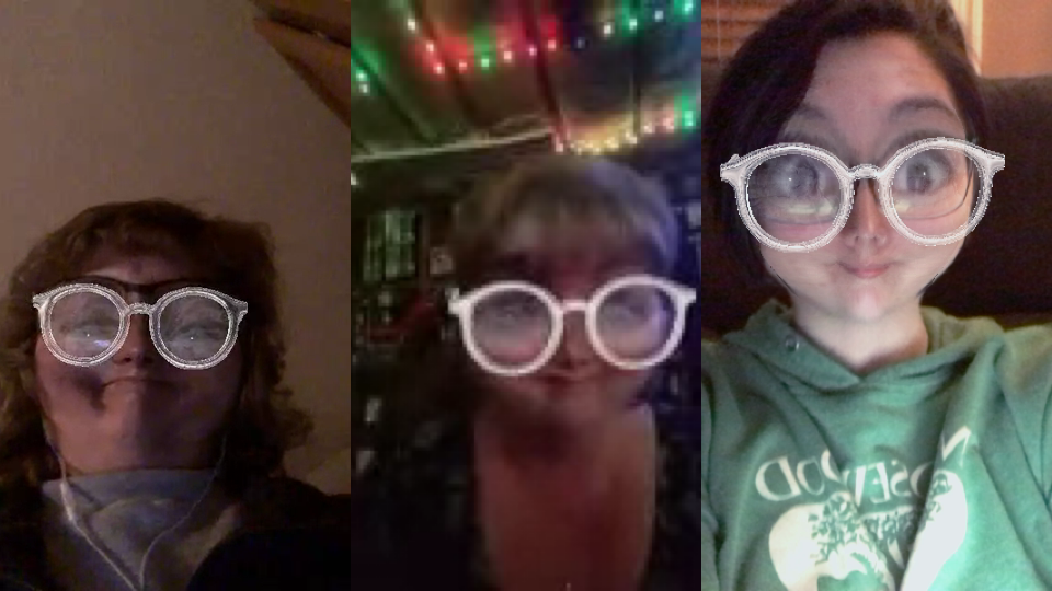 My aunt, my mom, and me being silly during a video chat