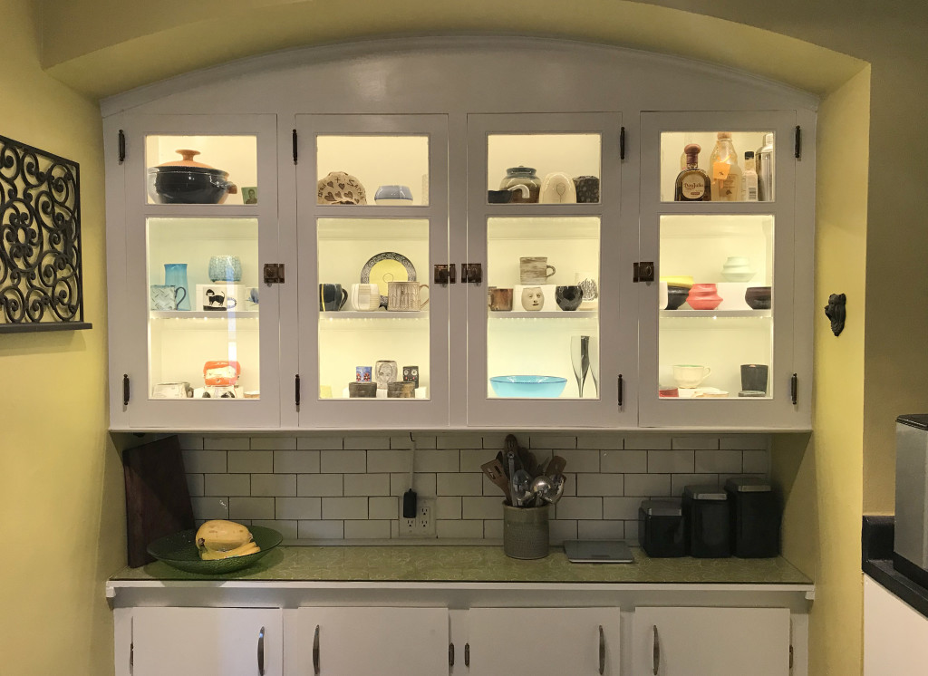 Our cup collection is quickly outgrowing its designated space in this cabinet in our kitchen. Last year, we added lighting to showcase all of the beautiful cups and bowls we have acquired.