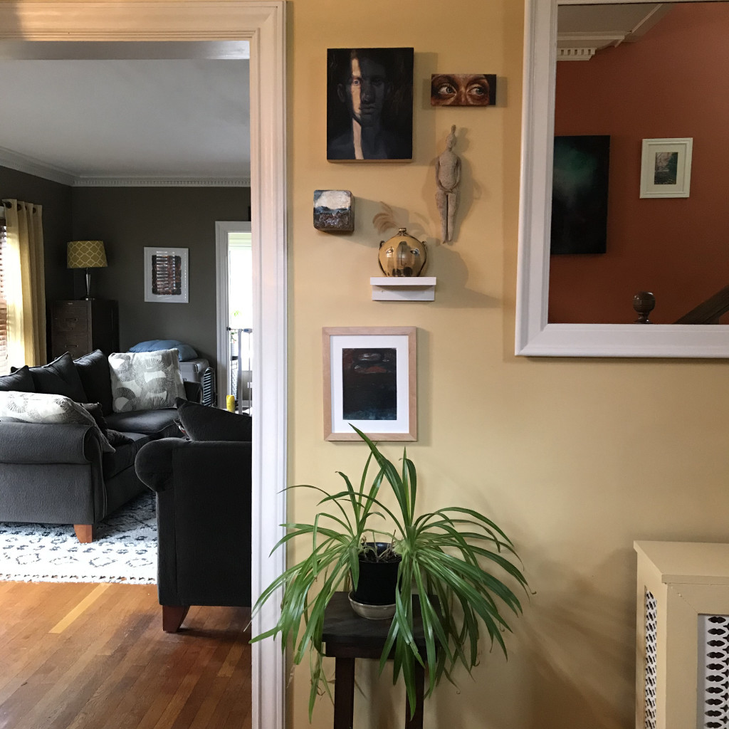 The foyer of our house features a group of work by former MSA resident Marisa Bruno, Hannah Lindo (from a MSA juried Small Works exhibition), John Green (from a two-person exhibition at MSA), Robin Whiteman (MSA gallery shop artist), Matt Metz (from the Flower City Pottery Invitational), and an original Bradley Butler. Show in the mirror to the right, a painting by Rochester artist Amy Vena and a painting by former MSA resident Kira Buckle.