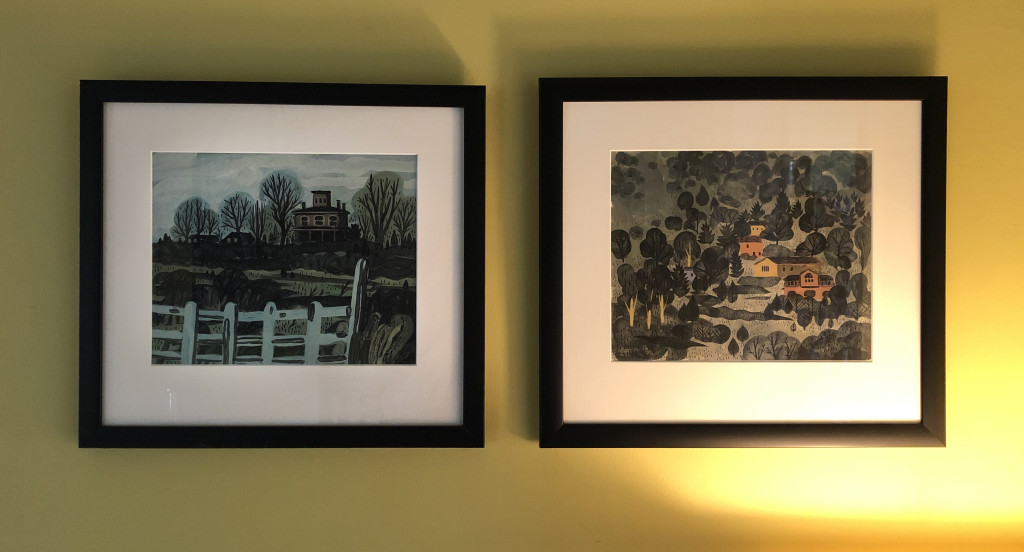 Two paintings by Chad Grohman, which hang in our dining room