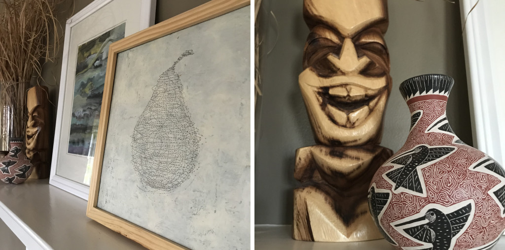 Left, a mixed media piece by July 2017 artist in residence Cathy Gordon and one of Brad's abstract paintings sit on our mantle. Next to them, shown on the right, is a tiki we purchased from an artist working on a sidewalk in Lahaina, Maui during our honeymoon, and a vessel from a 2018 trip to Mexico.