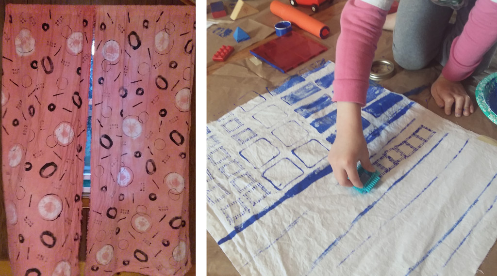 Hand printed, dyed and sewn curtains (left) and my daughter Penny printing with toys, blocks and lids (right)