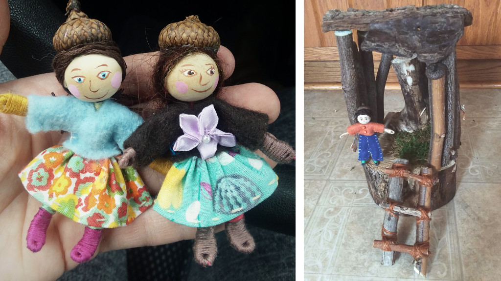 """My recent """"felt week folk"""" (left) and a young wee felt boy in his wood house (right)."""