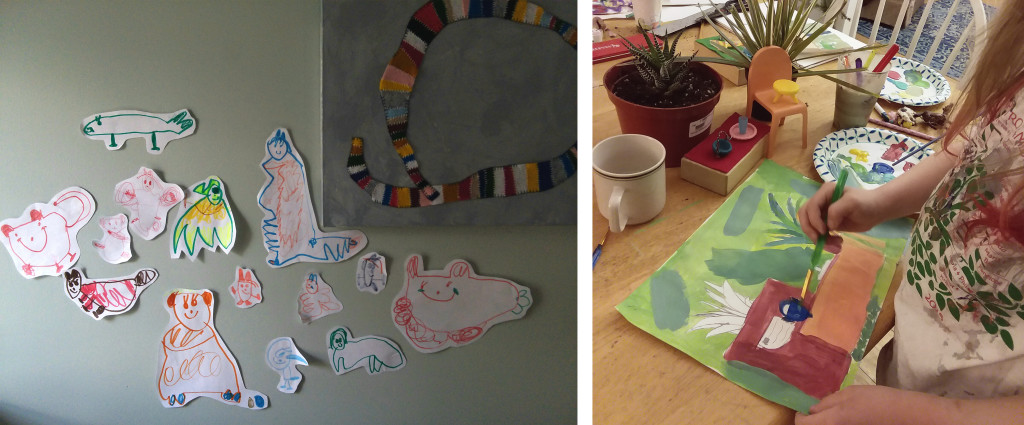 My daughter Jo's drawing installation (left) and my daughter Penny painting a still life she composed (right)