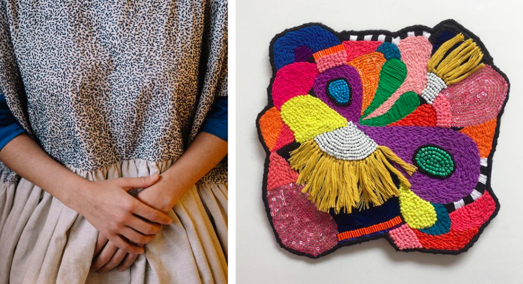 Ofelia & Antelmo — wearable art, hand embroidered (left) and Liz Payne — Island Relief