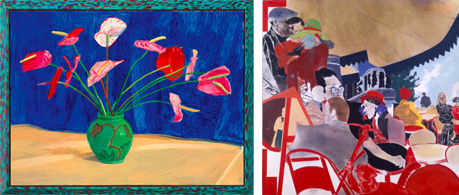 David Hockney —Antheriums (left) and R.B. Kitaj — The Autumn of Central Paris (right)