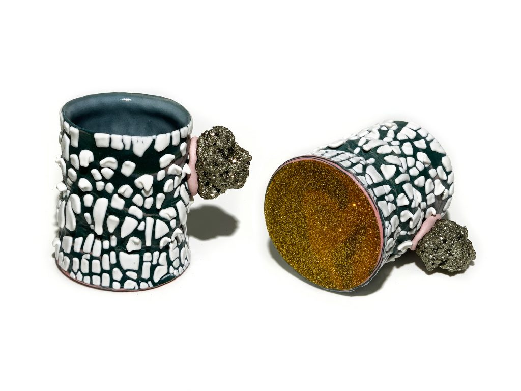 Brent Pafford, POPJCT, RUFF CUT, Porcelain, Glaze, Resin, Glitter, Epoxy, Pyrite—included in The Cup, The Mug 2020