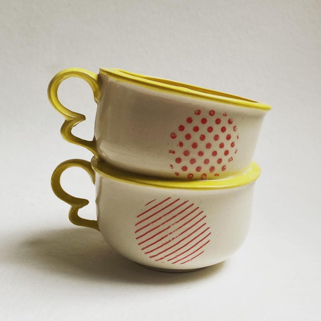 Duet by Dominique Mediak-Pirigyi—Slip cast ceramic, underglaze transfers