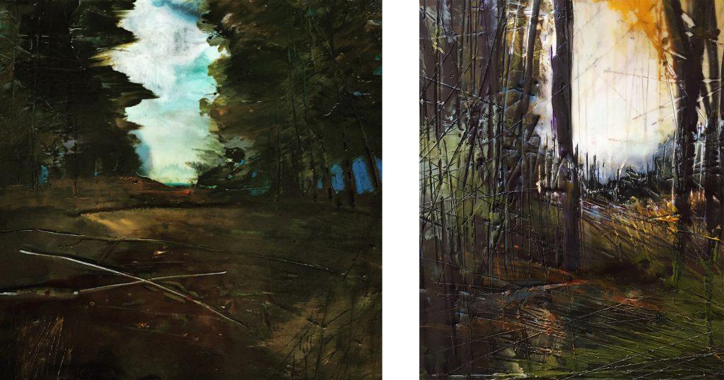Two encaustic paintings by Regina Quinn