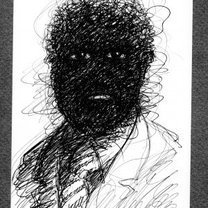 """Bob Conge's print of the drawing """"Blacker Than You"""" in the Diner's Club exhibition"""