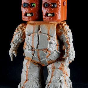 """Bob Conge's sculpture """"Bot Brothers"""" in the Diner's Club exhibition"""