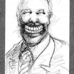 """Bob Conge's print of the drawing """"Whiter Than You"""" in the Diner's Club exhibition"""