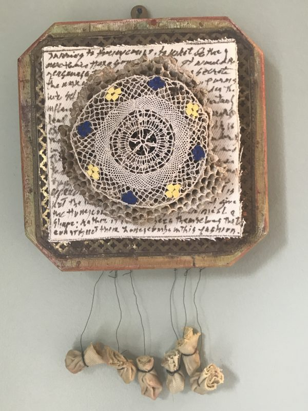 """Christina Bang's mixed media piece """"Handiwork"""" in the Diner's Club exhibition"""