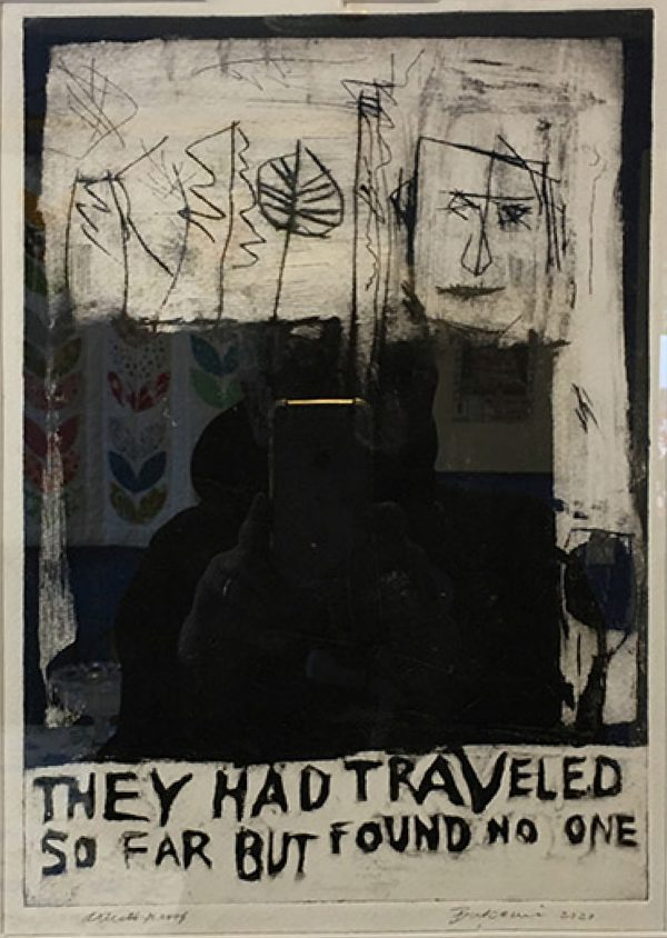 """Edward Buscemi's print """"They Found No One"""" in the Diner's Club exhibition"""