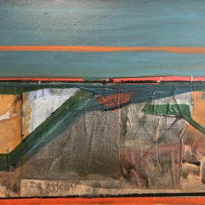 """Kurt Feurerherm's painting """"Breakwater in Chatham"""" in the Diner's Club exhibition"""