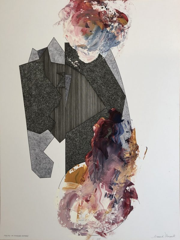 """Peter Moncelli's drawing """"Multiply an Invisible Mystery"""" in the Diner's Club exhibition"""