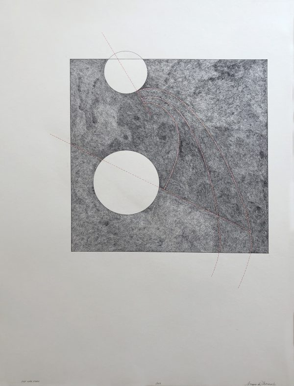 """Peter Moncelli's drawing """"Let Life Fray"""" in the Diner's Club exhibition"""